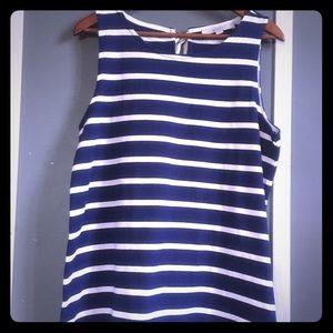 LOFT navy blue knit tank ribbon closure M